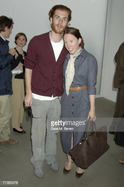 Frances ArmstrongJones and a guest attend the Damien Hirst 'A Thousand Years and Triptychs' private view at the Gagosian Gallery on June 20 2006 in...