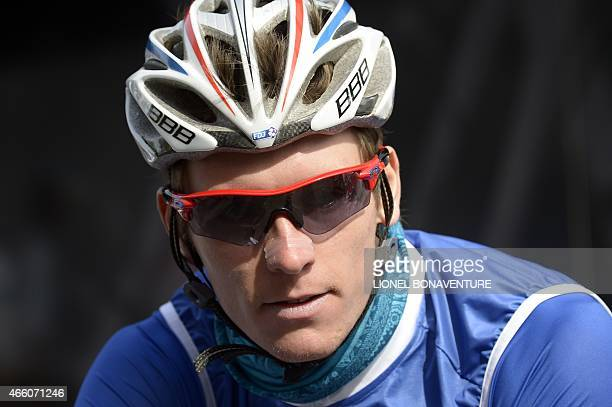 France's Arnaud Demare attends the signature ceremony in SaintEtienne central eastern France before the start of the fifth stage of the 73rd edition...