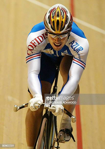France's Arnaud Tournant powers his way to silver in the men's 1km time trial final at the UCI Track Cycling World Championships in Melbourne, 27 May...