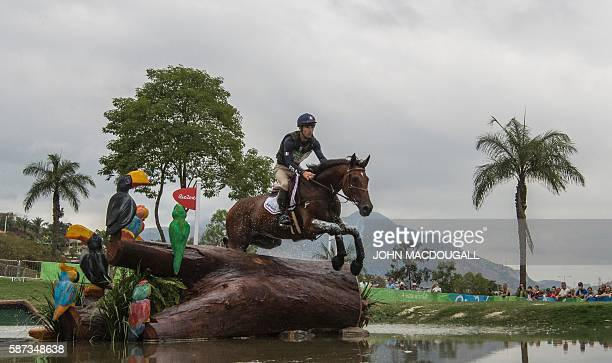 France's Astier Nicolas competes in the Individual Eventing's Cross Country phase of the Equestrian competition during the Rio 2016 Olympic Games at...