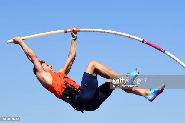 France's athlete Kevin Mayer competes in the Men's Pole Vault Decathlon during the Athletics French Championships Elite, in Marseille, southern...