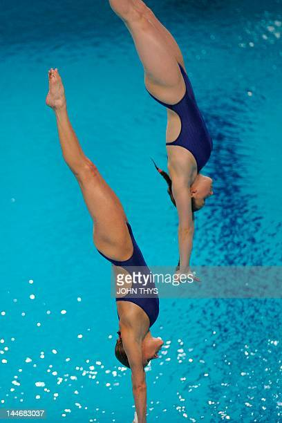 Frances' Audrey Labeau and Laura Marino dive during the women's 10m synchro platform final of the 31st LEN European Swimming Championships on May 17...