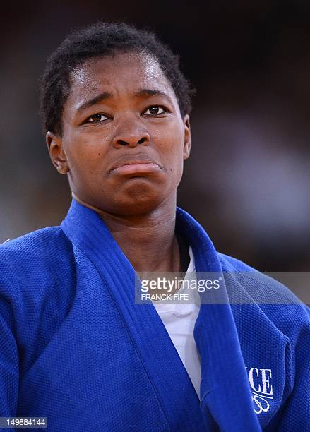 France's Audrey Tcheumeo reacts after winning her women's 78kg judo contest bronze medal match during the London 2012 Olympic Games on August 2 2012...