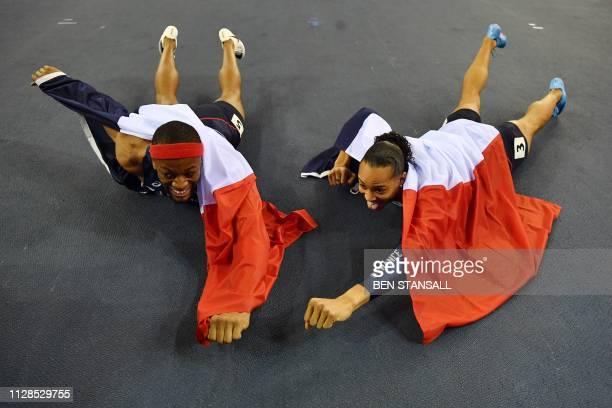 TOPSHOT France's Aurel Manga bronze medallist and France's Pascal MartinotLagarde silver medallist pose after the mens 60m hurdles final at the 2019...
