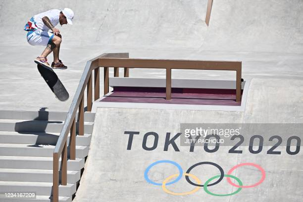 France's Aurelien Giraud competes in the men's street prelims heat 3 during the Tokyo 2020 Olympic Games at Ariake Sports Park Skateboarding in Tokyo...