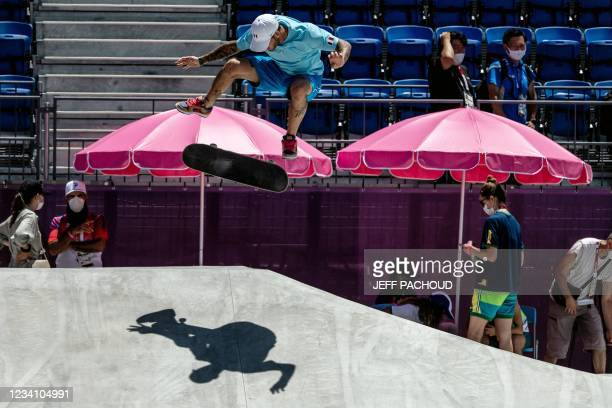 France's Aurelien Giraud practices at Ariake Urban Sports Park ahead of the Tokyo 2020 Olympic Games in Tokyo, on July 22, 2021.