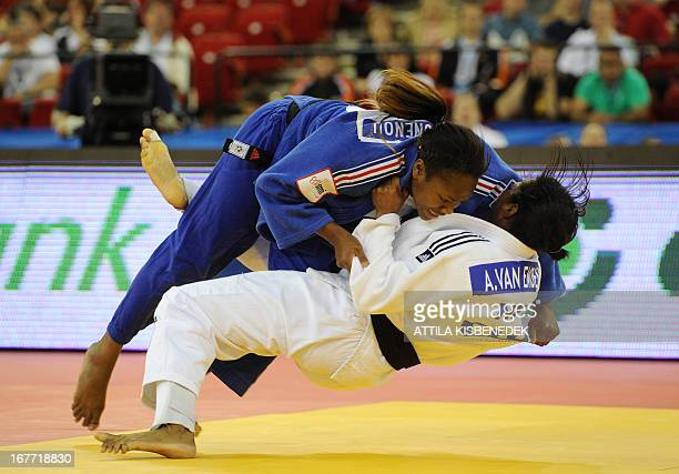 France's Automne Pavia fights with Neatherlands' Anicka van Emden during the final of the Judo European Championships in the team fighting for women...