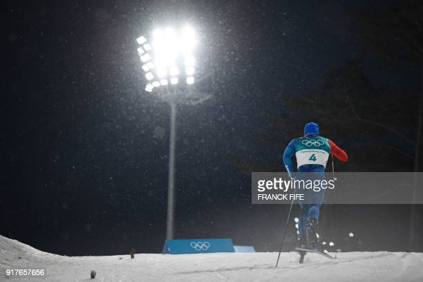 TOPSHOT France's Baptiste Gros compete during the men's crosscountry individual sprint classic qualifications at the Alpensia cross country ski...