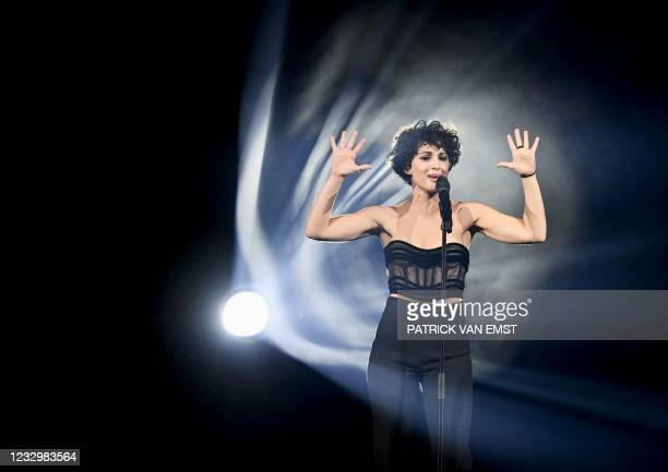 """France's Barbara Pievic aka Barbara Pravi performs on stage the song """"Voila"""" during the first dress rehearsal of the second semi-final of the..."""