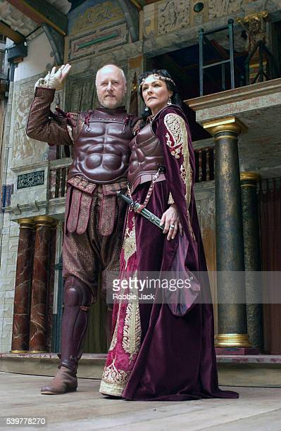 Frances Barber and Nicholas Jones in the production of Antony and Cleopatra at the Globe Theater London