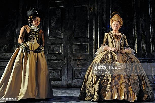 Frances Barber as Comtesse de SaintFond and Judi Dench as Madame de Montreuil perform in the Donmar's production of Yukio Mishima's play Madame de...