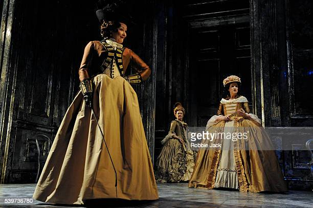 Frances Barber as Comtesse de SaintFond Deborah Findlay as Baronesse de Simiane and Judi Dench as Madame de Montreuil perform in the Donmar's...