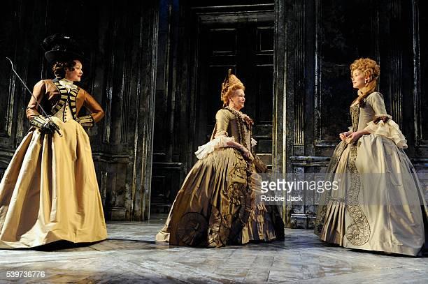 Frances Barber as Comtesse de SaintFond Rosamund Pike as Renee Madame de Sade and Judi Dench as Madame de Montreuil perform in the Donmar's...
