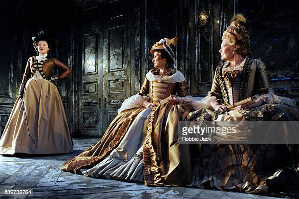 Frances Barber as Comtesse de SaintFondDeborah Findlay as Baronesse de Simiane and Judi Dench as Madame de Montreuil perform in the Donmar's...