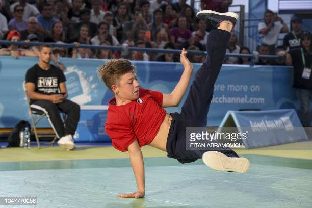 France's bboy Martin competes during a battle at the Youth Olympic Games in Buenos Aires Argentina on October 08 2018 The Youth Olympic Games in...