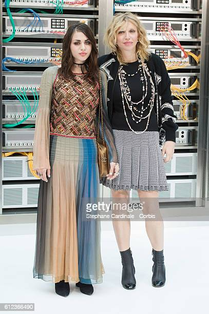 Frances Bean Cobain and Courtney Love attend the Chanel show as part of the Paris Fashion Week Womenswear Spring/Summer 2017 on October 4, 2016 in...