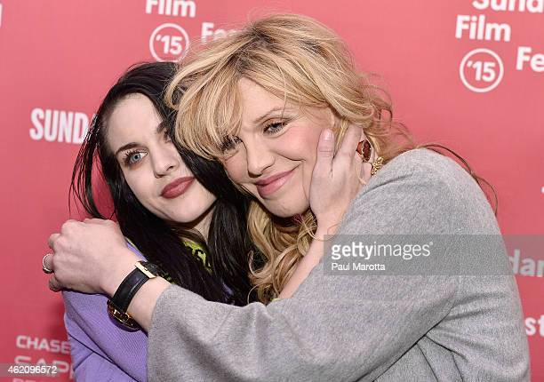 Frances Bean Cobain and Courtney Love attend the Kurt Cobain Montage Of Heck Premiere during the 2015 Sundance Film Festival at The Marc Theatre on...