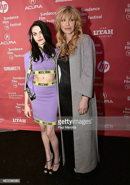Frances Bean Cobain and Courtney Love attend the 'Kurt Cobain Montage Of Heck' Premiere during the 2015 Sundance Film Festival at The Marc Theatre on...