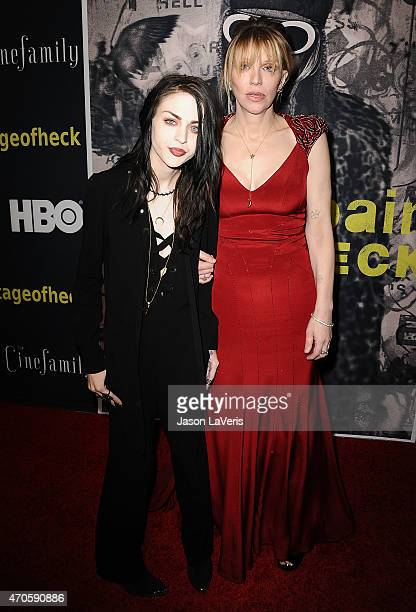 Frances Bean Cobain and Courtney Love attend the premiere of HBO Documentary Films' 'Kurt Cobain Montage Of Heck' at the Egyptian Theatre on April 21...
