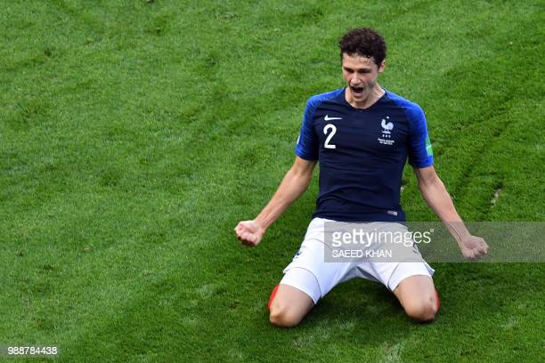 TOPSHOT France's Benjamin Pavard celebrates after scoring his team's second goal during the Russia 2018 World Cup round of 16 football match between...