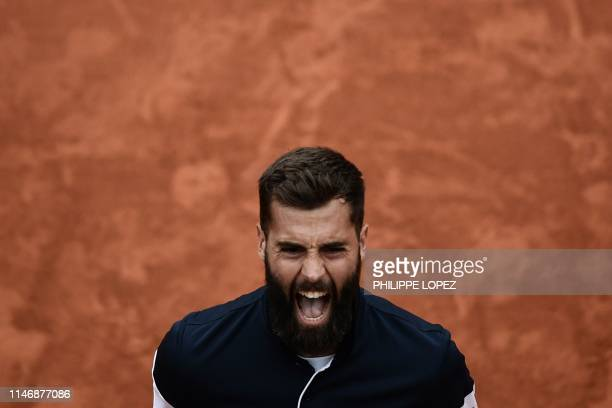 TOPSHOT France's Benoit Paire celebrates after winning against France's PierreHugues Herbert at the end of their men's singles second round match on...