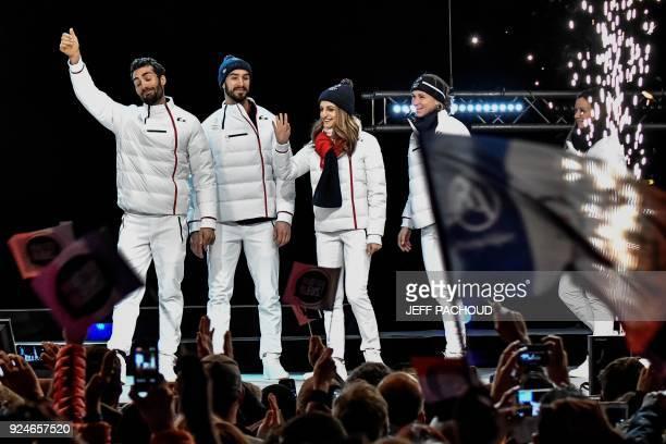 France's biathlon champion Martin Fourcade France's figure skaters Guillaume Cizeron and Gabriella Papadakis and French biathlete Anais Bescond wave...