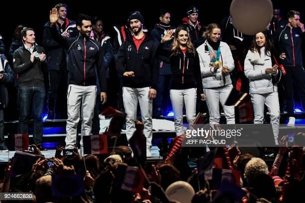 France's biathlon champion Martin Fourcade France's figure skaters Guillaume Cizeron and Gabriella Papadakis French biathletes Anais Bescond and...