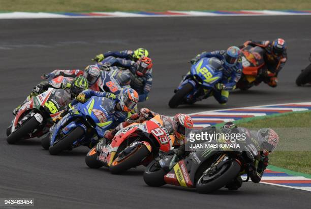 France's biker Johann Zarco rides his Yamaha to finish in second place in the MotoGP race of the Argentina Grand Prix at Termas de Rio Hondo circuit...