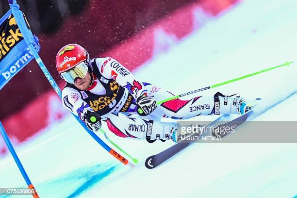 France's Blaise Giezendanner competes in the FIS Alpine World Cup Men Super G on December 29 2018 in Bormio Italian Alps