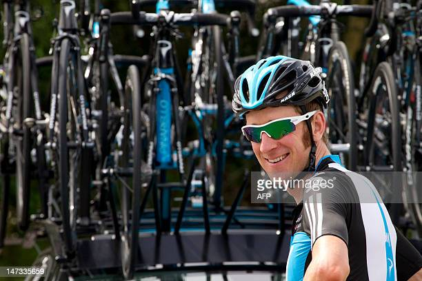 France's Bradley Wiggins is seen before participating in a training session for Great Britain's Sky cycling team on June 28 2012 in Verviers near...