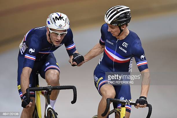 France's Bryan Coquard and Morgan Kneisky compete in the Men's Madison final at the UCI Track Cycling World Championships in SaintQuentinenYvelines...