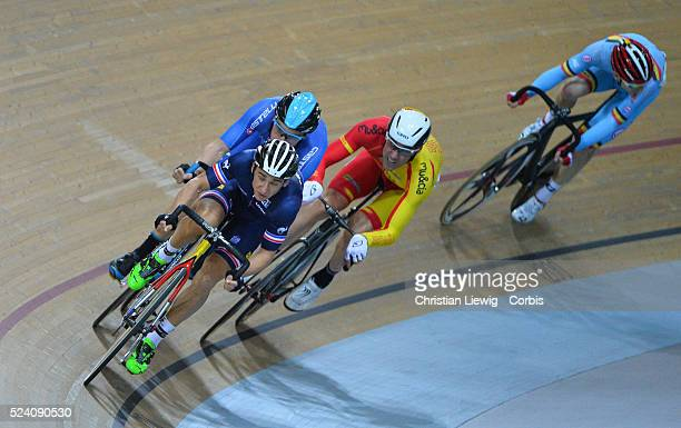 France's Bryan Coquard and Morgan Kneisky compete in the Men's Madison final at the UCI Track Cycling World Championships in...
