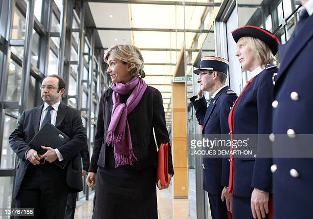 France's Budget Minister Valerie Pecresse , next to Jerome Fournel , director general of Customs, arrives before a press conference to present the...