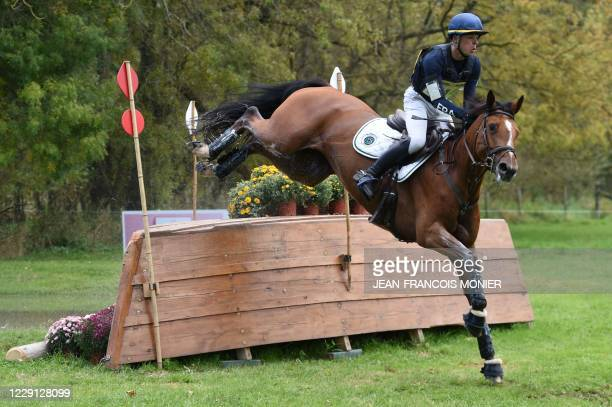"""France's Camille Lejeune rides Dame de Coeur Tardonn during the 7 years-old horse category of the Cross Country event """"Mondial du Lion-d'Angers"""", a..."""
