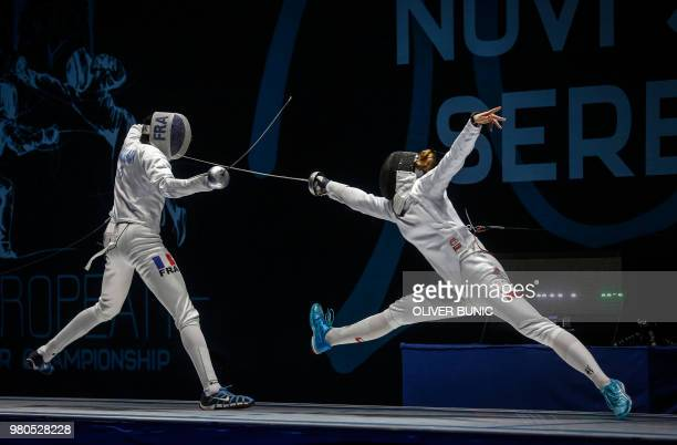 France's Candassamy MarieFlorence vies with Nelip Ewa from Poland during the Women's final of Epee competition at the European Fencing Championships...