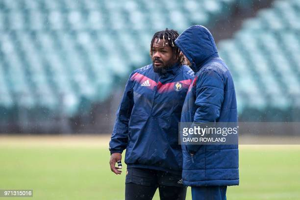 France's captain Mathieu Bastareaud attends a training session prior to the second rugby test match against New Zealand at the QBE Stadium in...