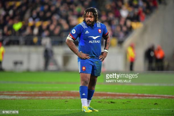 France's captain Mathieu Bastareaud takes part in the second rugby Test match between New Zealand and France at Westpac Stadium in Wellington on June...