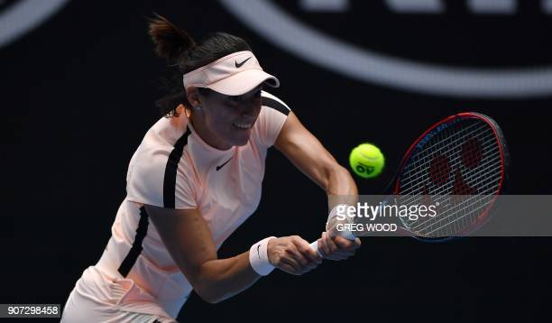 France's Caroline Garcia hits a return against Belarus' Aliaksandra Sasnovich during their women's singles third round match on day six of the...