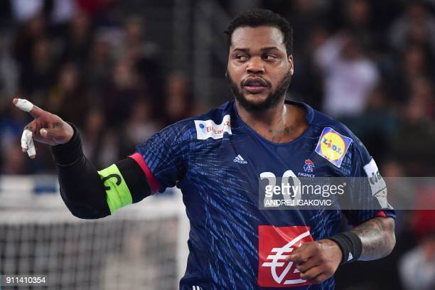 France's Cedric Sorhaindo celebrates after scoring during the match for third place of the Men's 2018 EHF European Handball Championship between...