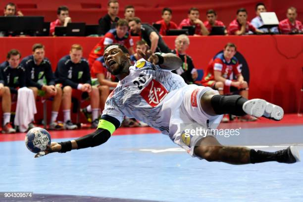 France's Cedric Sorhaindo shoots on goal during the preliminary round group B match of the Men's 2018 EHF European Handball Championship between...