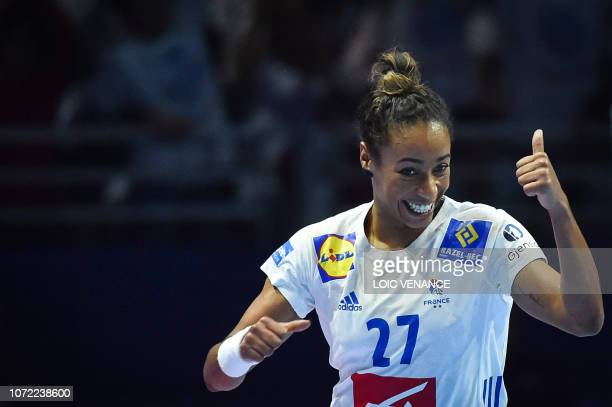 France's center back Estelle Nze Minko celebrate during the Women Euro 2018 handball Championships Group 1 main round match between Serbia and...