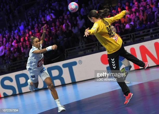 France's center back Estelle Nze Minko scores during the Women Euro 2018 handball Championships Group 1 main round match between Serbia and France,...