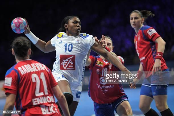France's center back Grace Zaadi vies with Serbia's center back Tamara Radojevic during the Women Euro 2018 handball Championships Group 1 main round...
