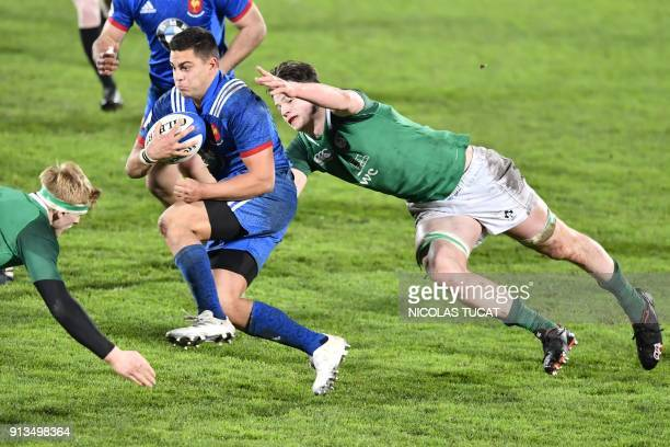 France's centre Arthur Vincent runs with the ball during the Six Nations U20 rugby match France versus Ireland on February 2 2018 at the ChabanDelmas...
