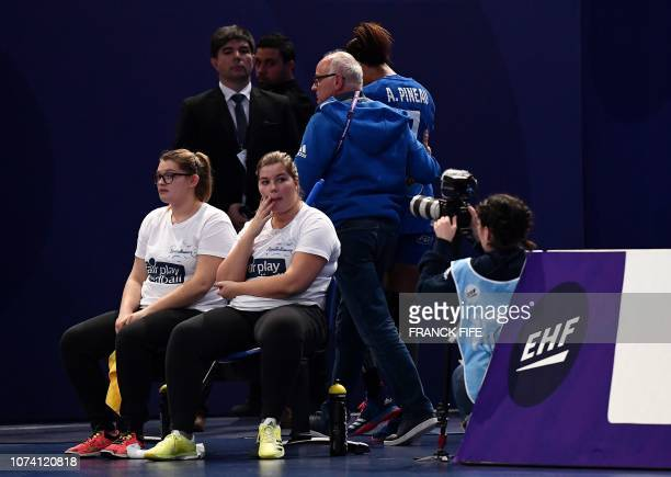 France's centre back Allison Pineau leaves the court during the EHF EURO 2018 European Women's Handball Championship Final match between Russia and...