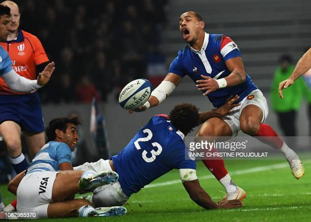 France's centre Gael Fickou reacts during the international rugby union test match between France and Argentina at the Pierre Mauroy Stadium in...