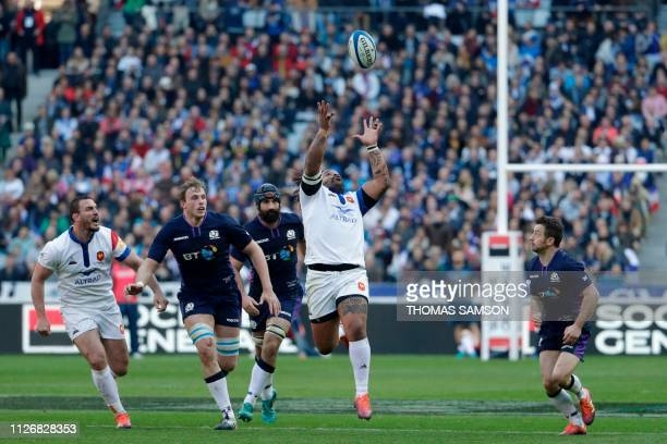 France's centre Mathieu Bastareaud catches the ball during the Six Nations rugby union tournament match between France and Scotland at the Stade de...