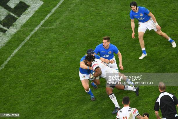 France's centre Mathieu Bastareaud runs to score a try during the Six Nations international rugby union match between France and Italy at the...