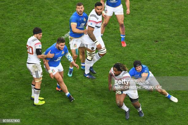 France's centre Mathieu Bastareaud runs with the ball during the Six Nations international rugby union match between France and Italy at the...