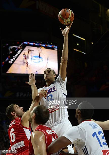 France's centre Rudy Gobert jumps for the ball during the 2014 FIBA World basketball championships semifinal match France vs Serbia at the Palacio de...